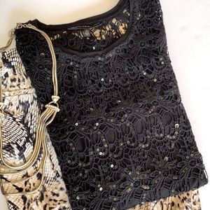🌹WHBM • Lace & Sequin Tunic Length Tank